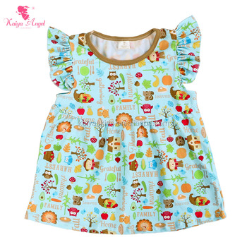 Cute Designs Tops For Kid Girls Animal Printed Cheap Shirts For