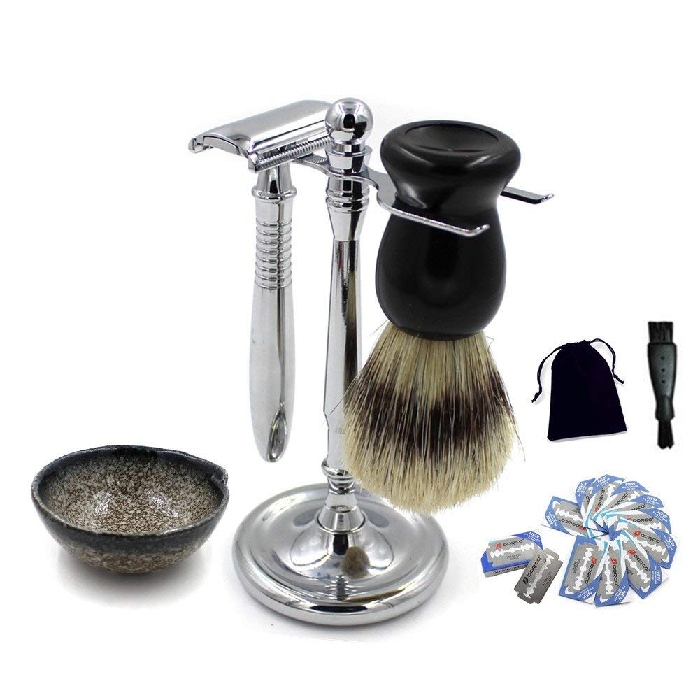 Deluxe Heavy Duty Long Handle Safety Razor & Chrome Stand Vintage Ceramic Soap Dish & Bristle Shaving Brush Extra 10 Blades & Mini Cleaning Brush Perfect Wet Shaving Kit Gift Set for Men