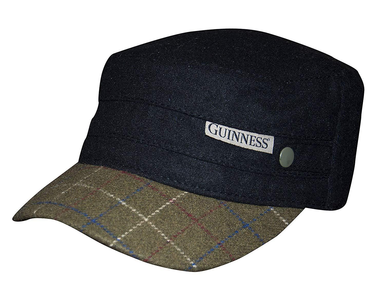 69751f7c1fe Get Quotations · Guinness Black Tweed Peak Cadet Cap