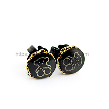 black round animal bear stud earrings material stainless steel