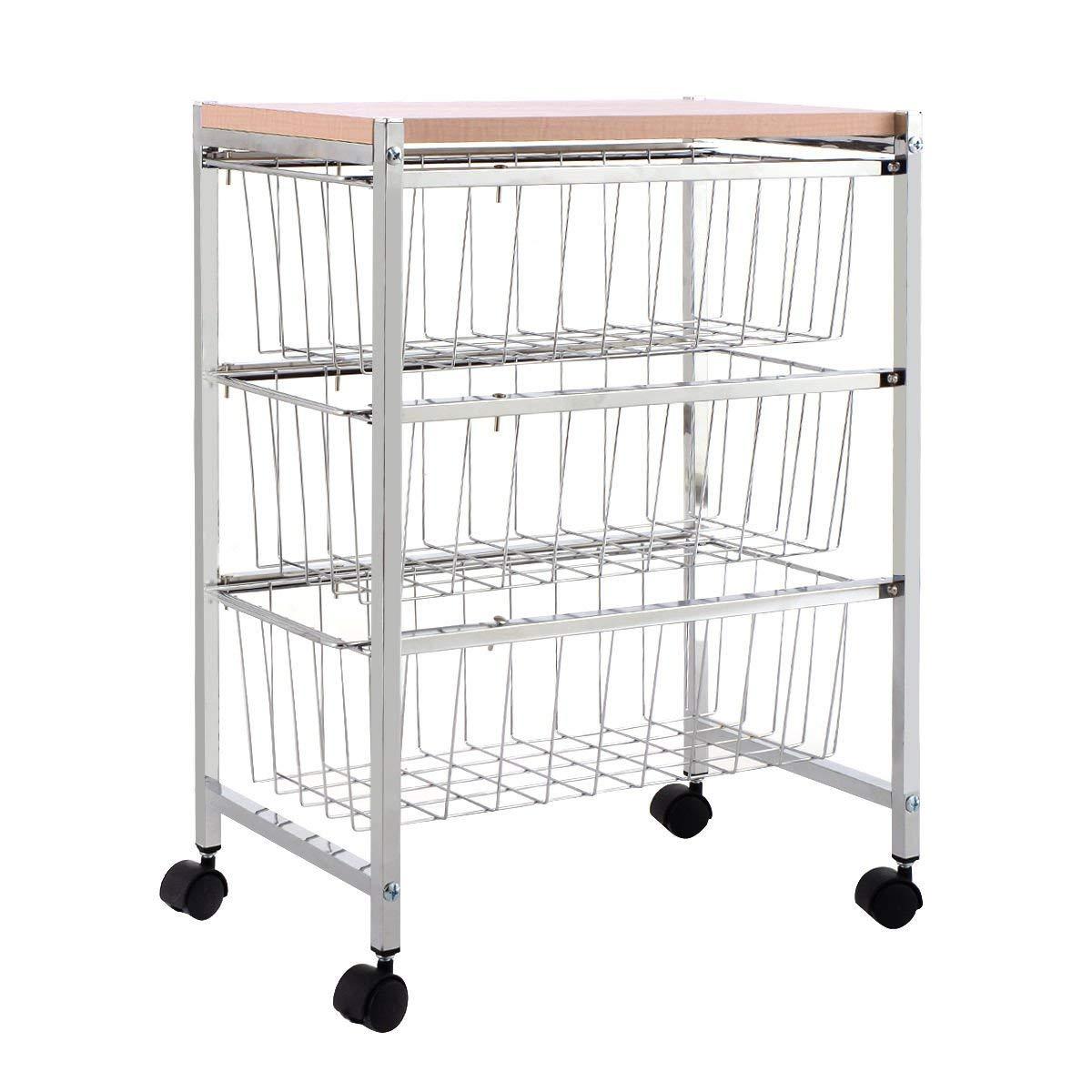 Metal 3-Tier Rolling Trolley Cart Baskets Rack Storage w/Wood Top & Wheel with Ebook