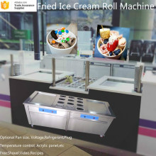 R22/R410A Refrigerant Double Flat Pan Fried Ice Cream Roll Machine