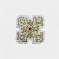 white felt gold metallic thread custom badge embroidery