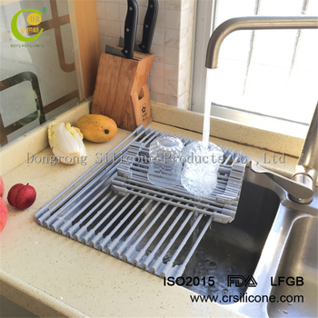 Sink Rack Roll Stainless Steel Silicon Handy And Portable Houseware Folding Dish  Drainer