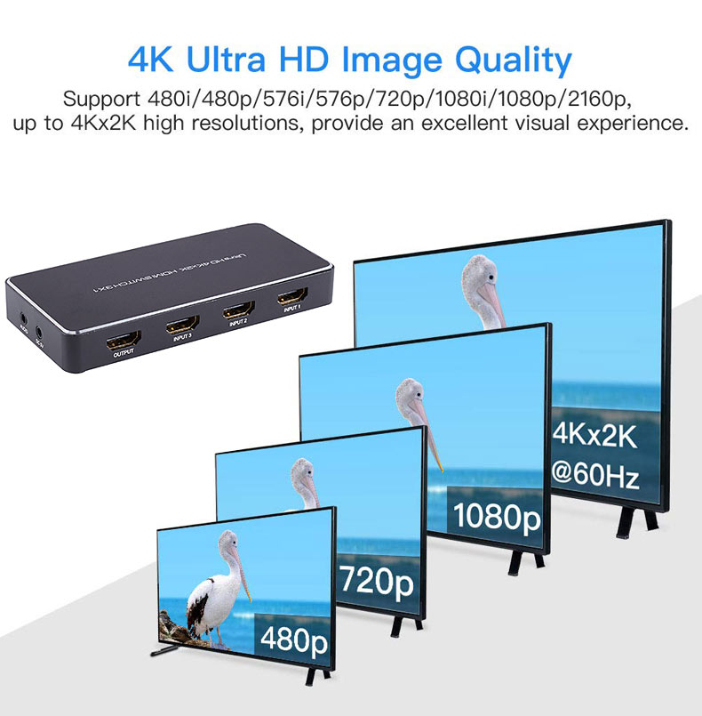 High Quality HDMI HD 5*1 Switch Support 3D 4k*2k 1080P Remote Control 5port 5 in 1 out