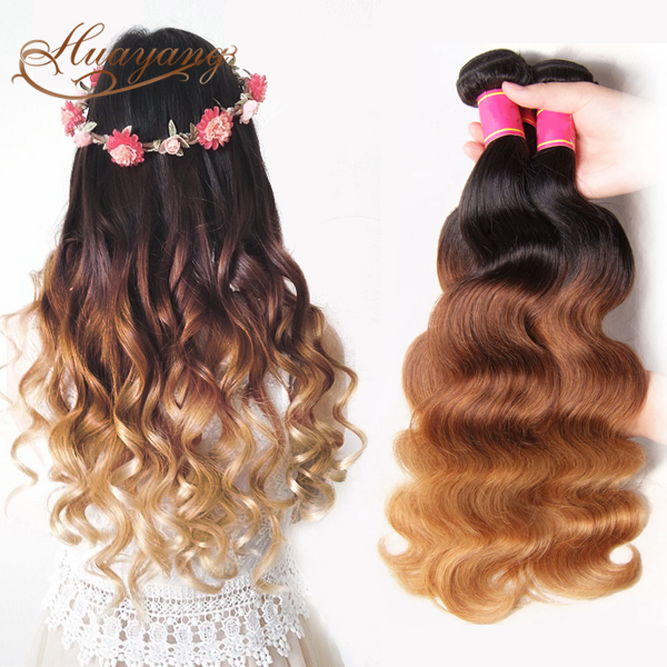 Wholesale 100% premium raw virgin cambodian hair body wave 1/4/27 colored three tone hair weave
