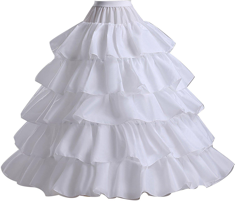 Get Quotations · RohmBridal 4 Hoops 5 Ruffles Puffy Wedding Dress Petticoat Ball  Gown Underskirts Crinoline Slips c39033c61e90