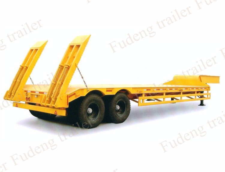 Factory price 50 ton hydraulic ladder low loader semi-trailer