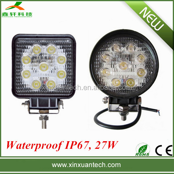 4 inch square 27w led work light for offorad driving wrok light