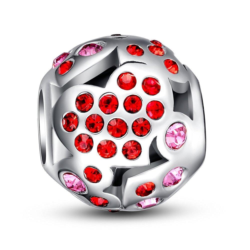 Glamulet Sports Women's 925 Sterling Silver Hearts Openwork Charm Fits Pandora Bracelet