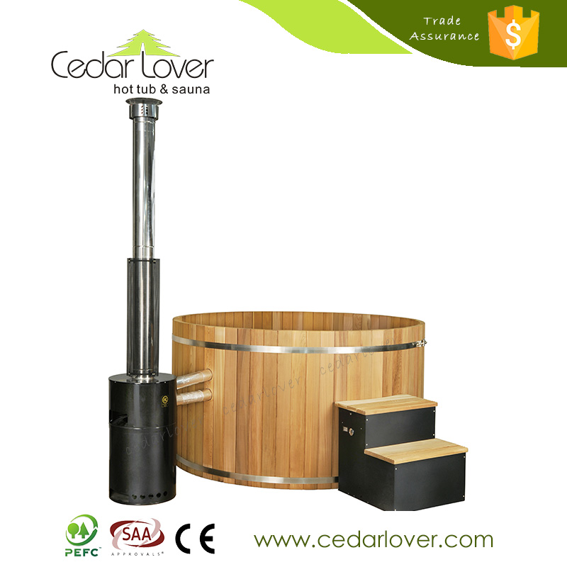 2016 New product promotion round wood fired cedar hot tub