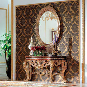 Luxury Wholesale Classic Furniture Gold Leaf Gilding Console Table And Mirror Wood carved Console Table K-839
