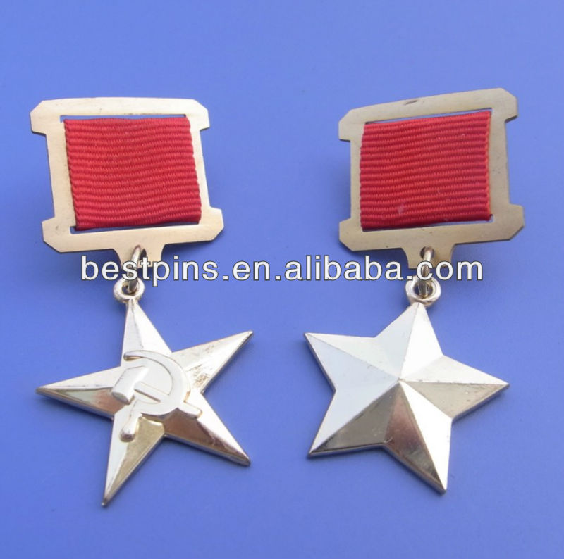 souvenir Russian hammer and sickle medal badge