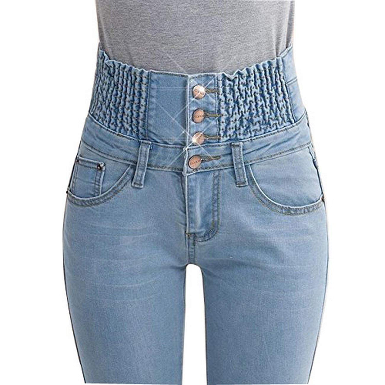 ad76378cfc629 Get Quotations · Women s High Waist Elastic Skinny Denim Long Pencil Pants  Plus Size Woman Jeans Camisa Feminina Lady