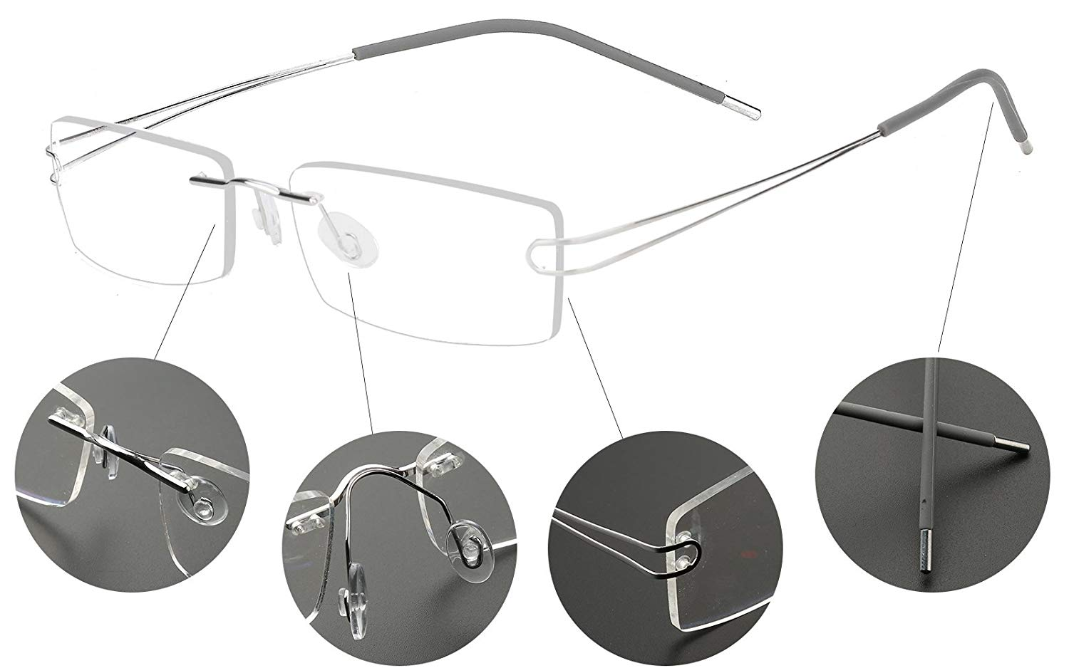 c72f222b810 ... Flexible Hinged Eyeglass Frame Eyewear Spectacles RX. Get Quotations ·  Agstum Pure Titanium Rimless Frame Prescription Hingeless Eyeglasses 52mm