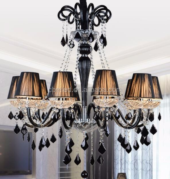 Black Color Lighting Chandelier Modern Antique Glass Coloured