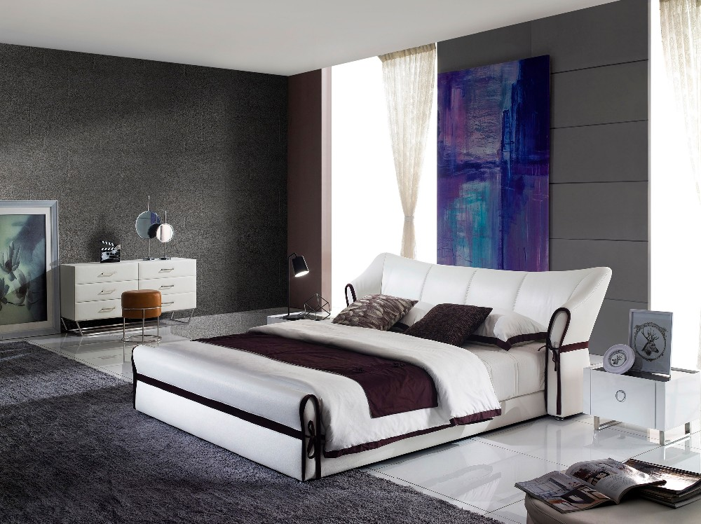 Full Size Leather Queen Size Japanese Beds Frame And Headboard In