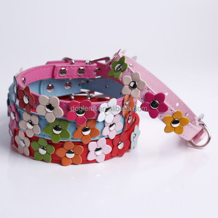 Wholesale Cute Flower Puppy Pet Collars Leather Buckle Dog Collar