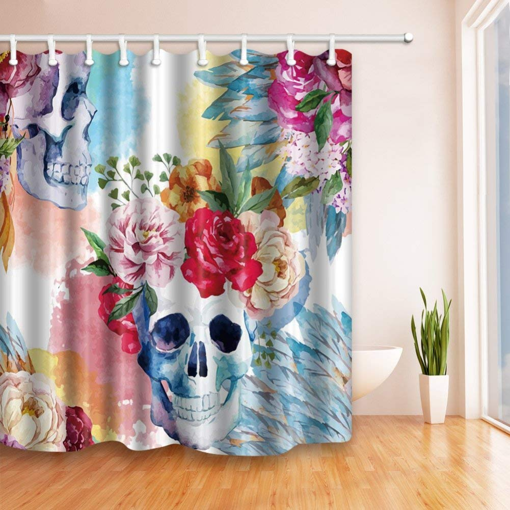 Get Quotations Adarl Skull Floral Shower Curtain Waterproof Fabric Bath CurtainsSet Of 12 Rings 71x71inch