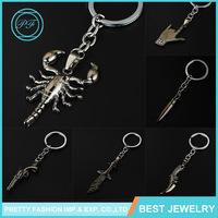 Newest creative design gun black scorpion bullet knife fancy keychain