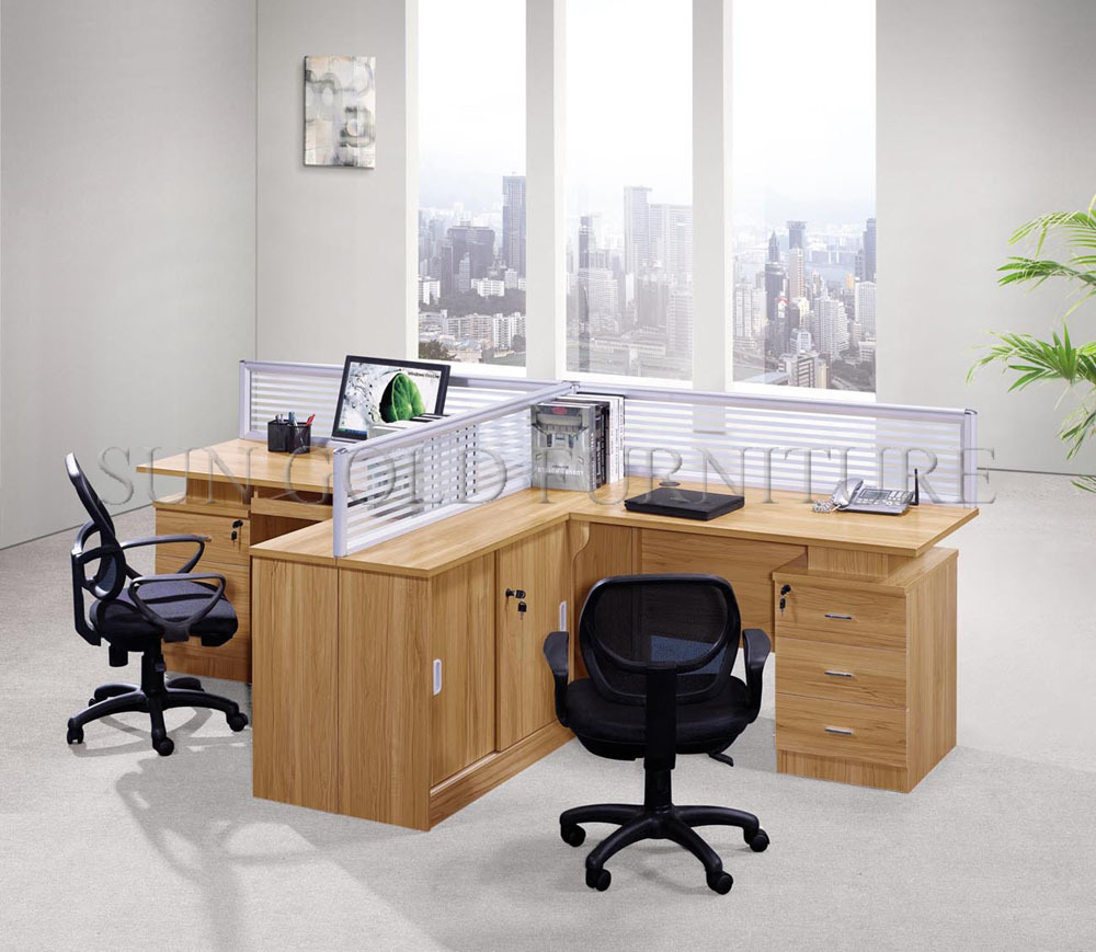 office partition for sale. Orange 4 Seat Office Cubicles With Wooden , Glass Walls Partition For Sale ( SZ-