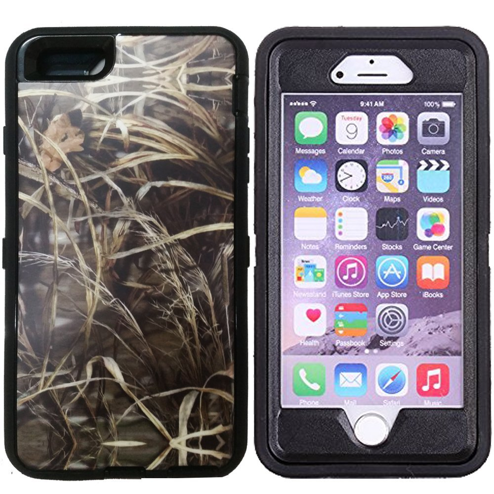 "Kecko(TM) For iphone 6 Plus Camo Case, Defender Tough Rubber Camo Tree Shockproof Impact Weather Resistant Hybrid Camouflage Military Duty Case for iphone 6 Plus 5.5"" W/ Built-in Screen Protector (Not For iphone 6 4.7"")--Leaves/Grass On The Core (Grass Black)"