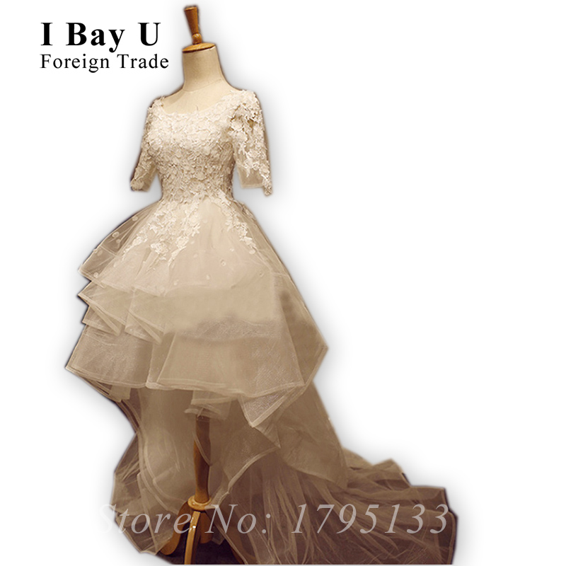 Popular Tea Length Lace Wedding Dress With Sleeves-Buy