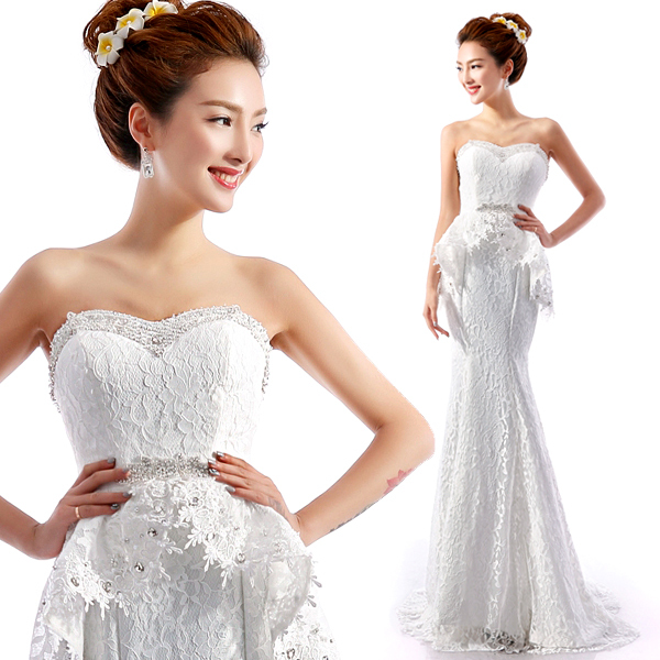 2015 Romantic White Wedding Dress Mermaid Wedding Dresses Bridal Gown Vestido De Noiva Casamento Crystal Lace Wedding Dress G415