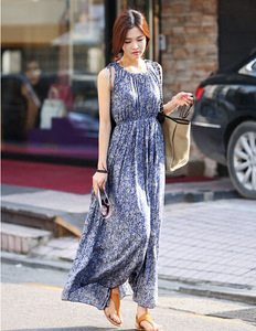 Z90800A The new 2016 summer dress sleeveless floral dress daily casual Bohemian dress