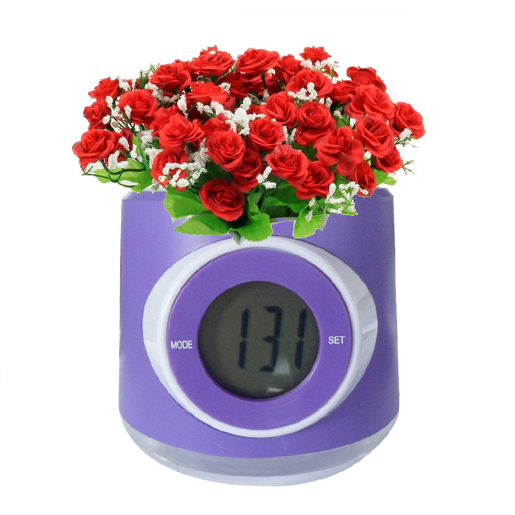 Kreative Gartenarbeit Wasserdichte Tabelle Blume Fall LCD Display Digitale Uhr