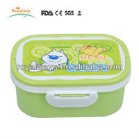 PP cartoon lovely double layer plastic locked kids lunch box with handle