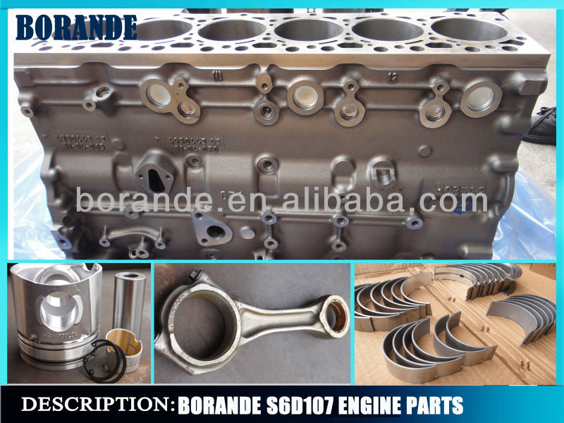 High Quality S6d107 Engine Parts Engine Piston Excavator Cylinder Block