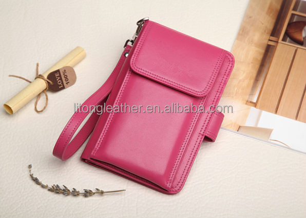 OEM multifuction genuine or PU leather wallet for lady with card holder and tag