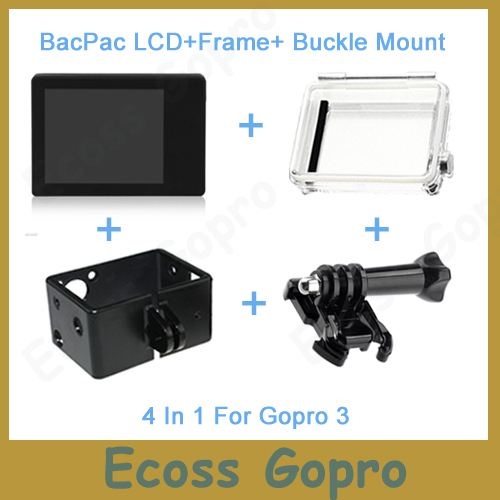 Gopro Hero3 LCD Screen BacPac Display Viewer + Backdoor Case Cover + Gopro