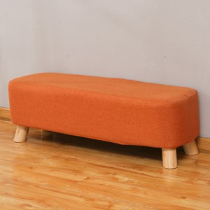 2018 best selling wooden furniture puff upholstered footstool
