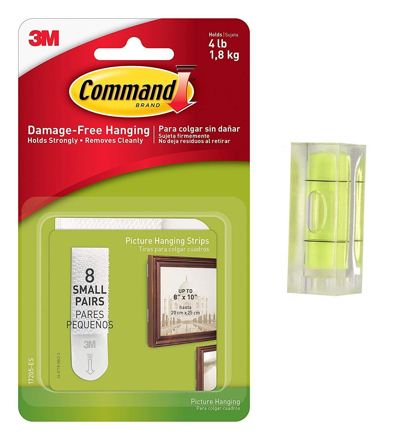 Command Picture Hanging Strips Value Pack, Small, White, 8-Pairs (17205ES) With Bubble Level Measuring Tool
