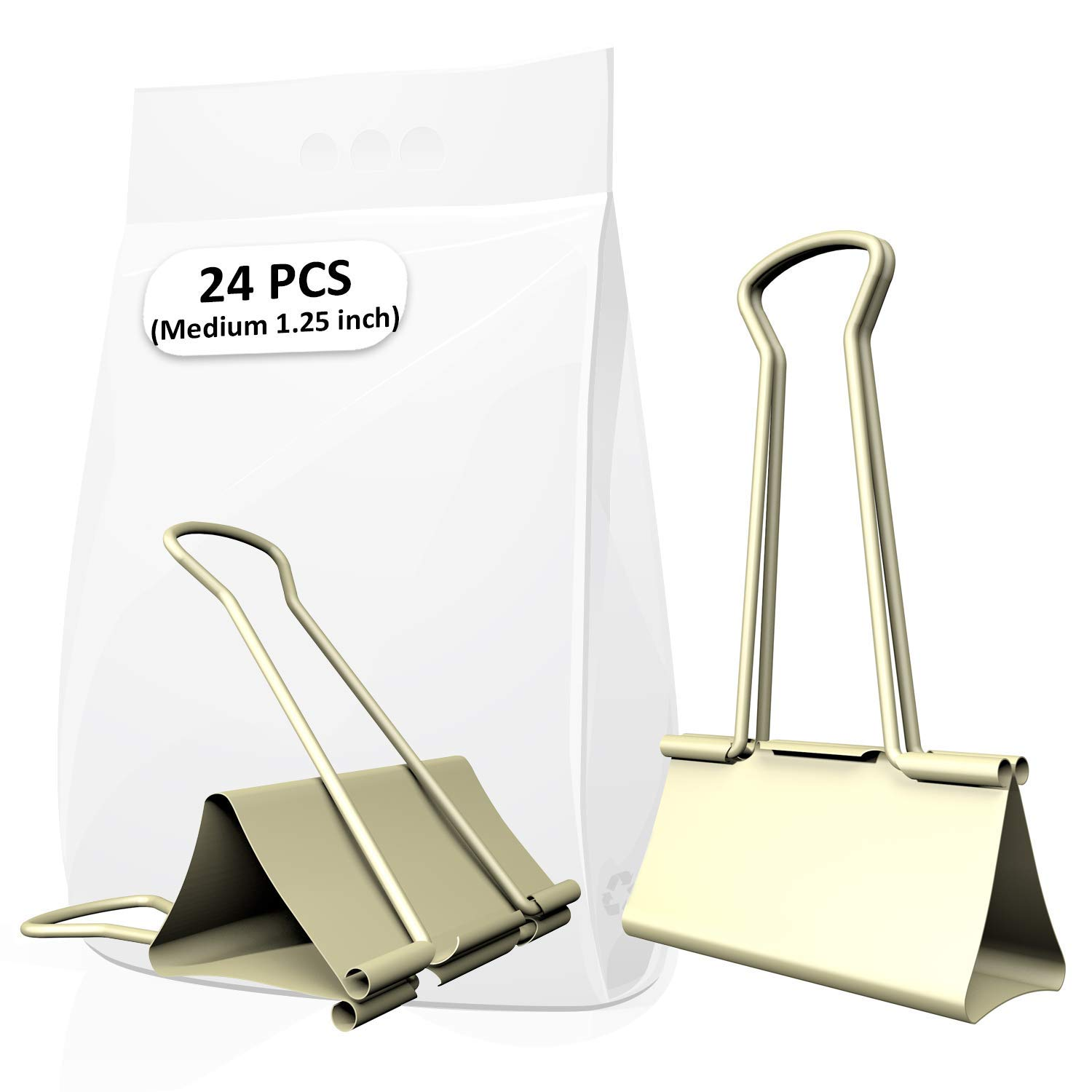 Gold Medium Metal Binder Clips of 1-1/4 inch, Colored Paper clamp, Assorted Sizes Assortment, for Office School Fold Back Clip, etc. 0.75/1.25/2 in (1.25 inch / 32 mm (Gold), 24 PCS (Gold))