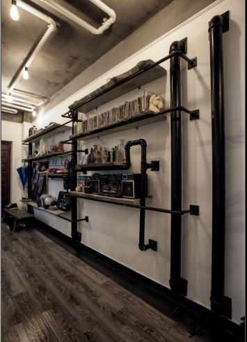 creative d coration murale loft industriel lourd tuyau tag re murale tag re de biblioth que. Black Bedroom Furniture Sets. Home Design Ideas