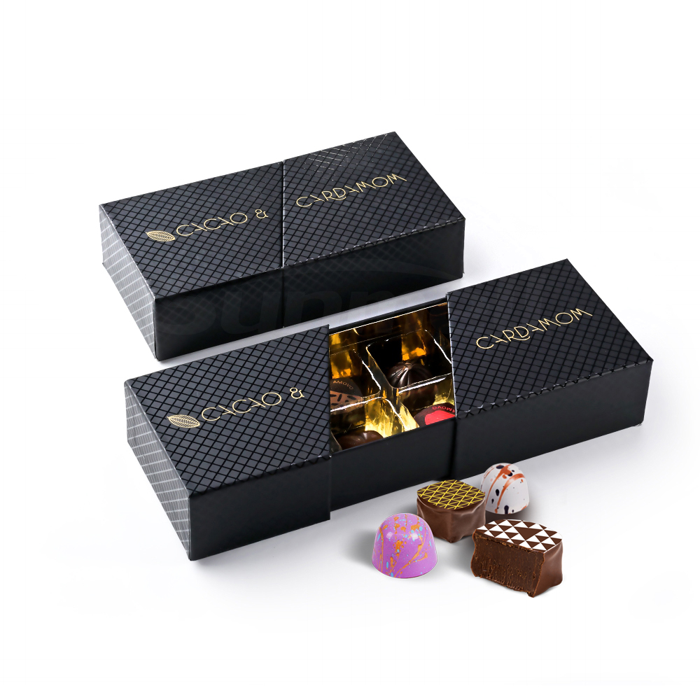 luxurious matt black personalised 8 cavity cardboard paper chocolate bonbons packaging box with plastic tray divider