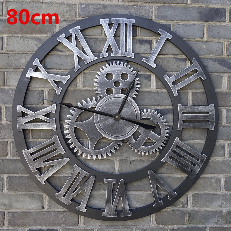oversized vintage wall clock 3d gear wall clocks wooden retro big saat large watch reloj pared. Black Bedroom Furniture Sets. Home Design Ideas