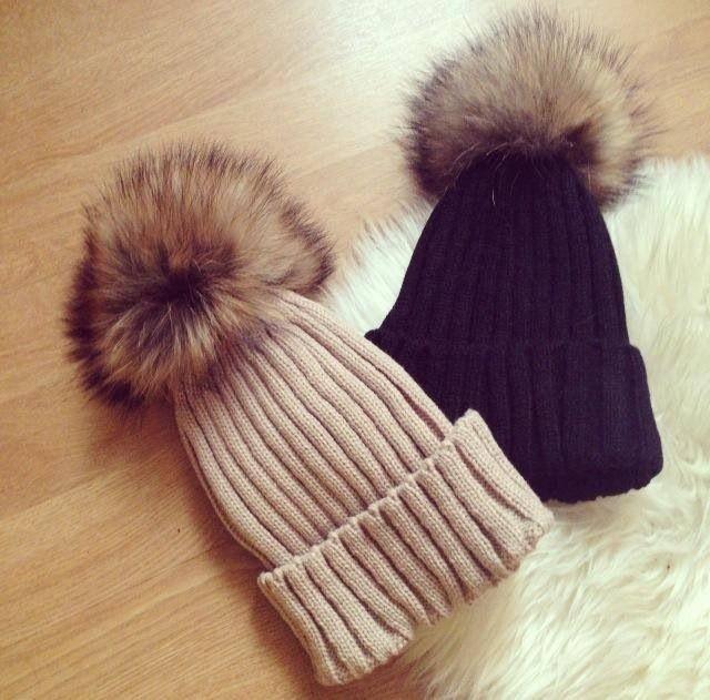 a2a11127055 Custom Fashion Fox Fur Pom Pom Mink Fur Winter Knitted Beanie Hat ...