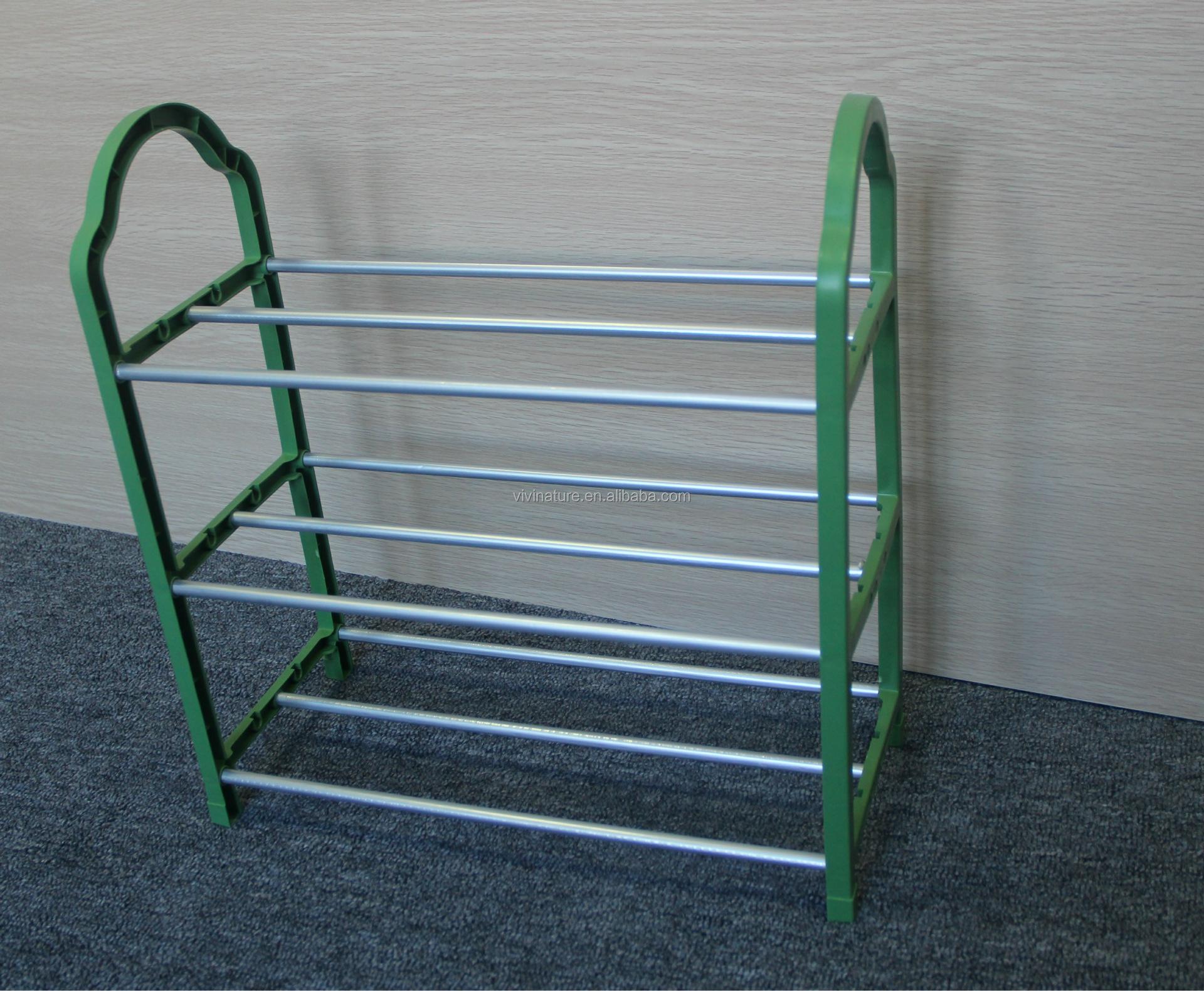 3 niveaux étagère à chaussures en acier inoxydable support de rangement pour salon