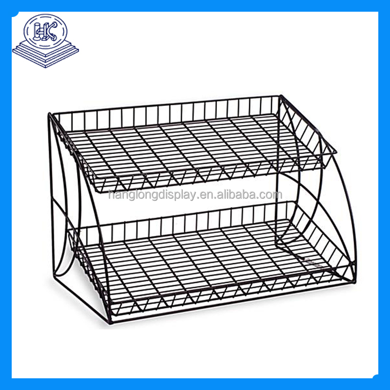 Metal Material Rolling Wicker Basket Stand Display Rack