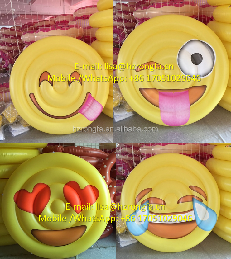 Manufacturing Directly MOQ 1PC Giant Swimming Ring Smile Face Float Cheapest Custom Large PVC Inflatable Adult Pool Float Toys