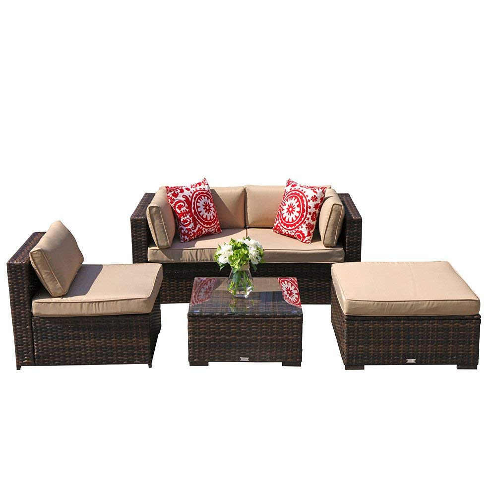 Super Patio Outdoor Furniture, All-Weather Brown 5 Piece Wicker Furniture Patio Sectional Sofa Set with Beige Cushion, Steel Frame