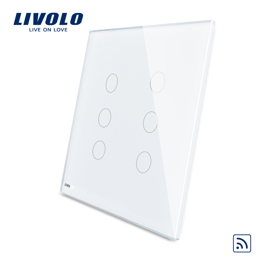 Livolo Smart US Standard Electrical White Crystal Glass 3 Gang and 3 Gang Remote Touch Sensitive Light Switches