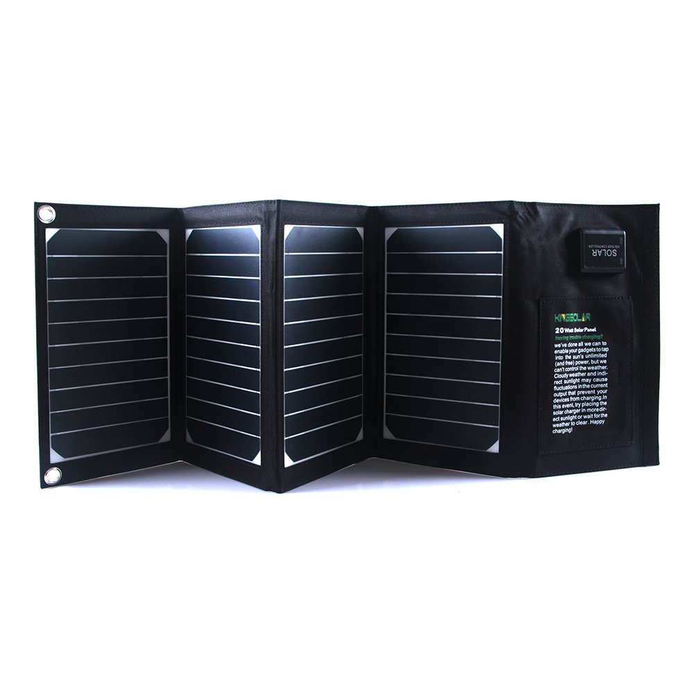 KINGSOLAR™ Highest Efficiency 20W Dual-port (Support Fast Charging and Automatic Recognition Technology) Foldable Solar Panel Portable Solar Charger Solar Power Charger (Black)