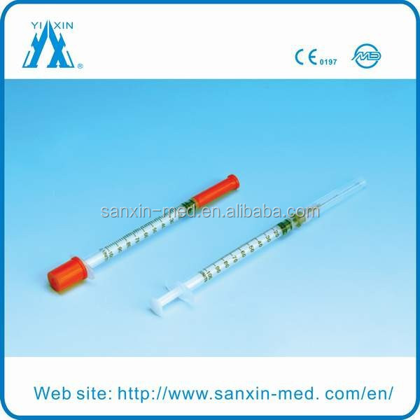 Disposable 1ml free insulin syringe with needle