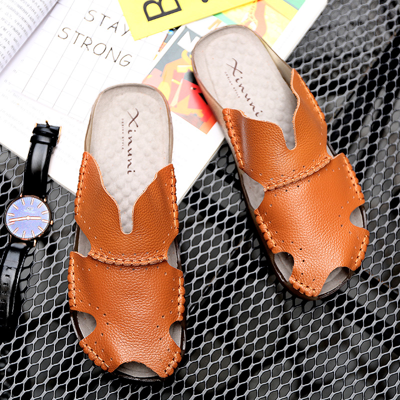 9f6f9c67285f2c China Pu Leather Man Slippers