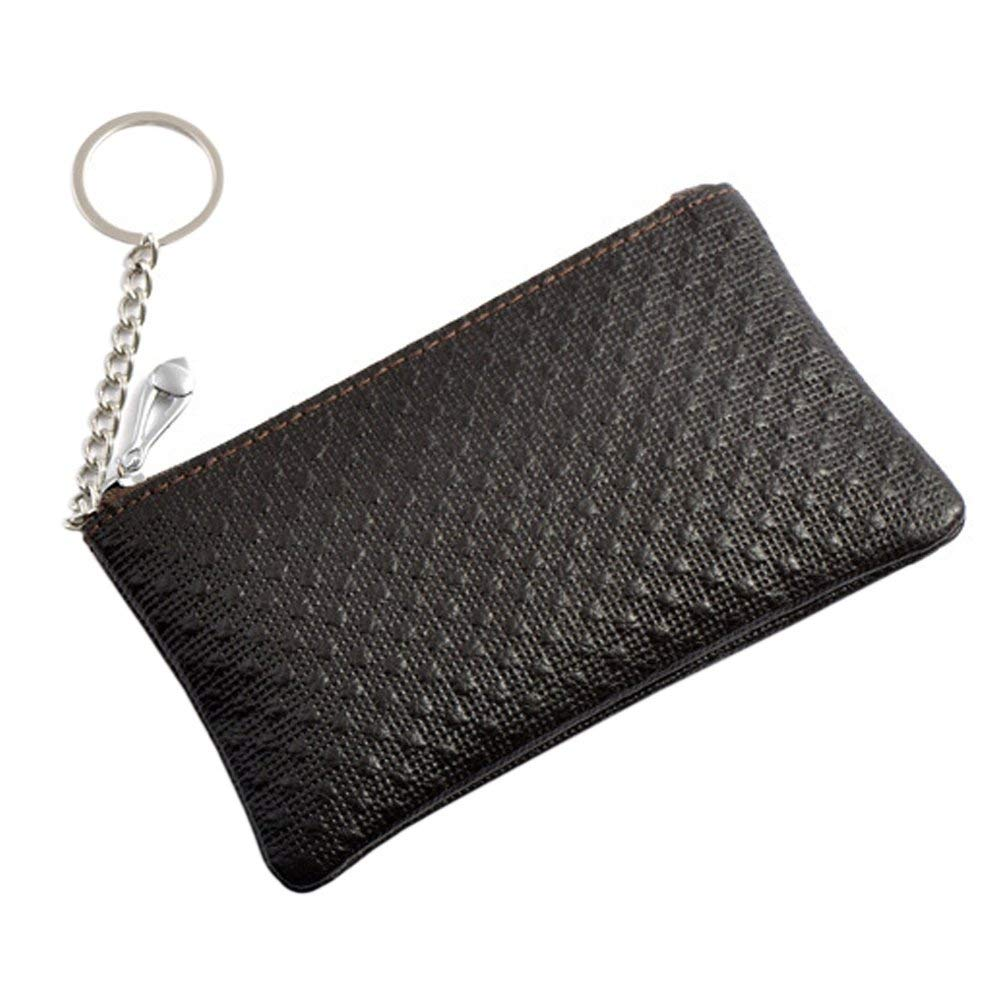 Boshiho Women's Genuine Leather Zippered Coin Purse Change Holder with Key Ring Keychain